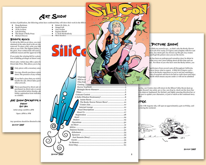 Silicon Program Book - for a 1,000 person convention. Created entire layout using art and content from others. Coordinated printing.